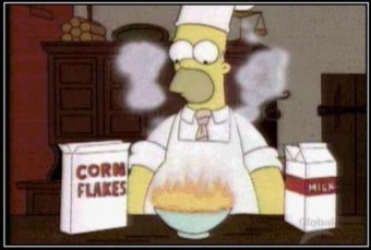 Homer making cereal